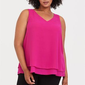NWT Torrid Pink Georgette Double Layer Tank- Sz 5